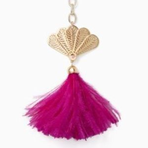 Kate Spade Pink Feather Fan Gold Key Chain Fob